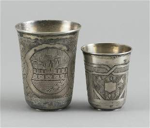 TWO RUSSIAN 84 ZOLOTNIK SILVER VODKA CUPS Moscow, 1882