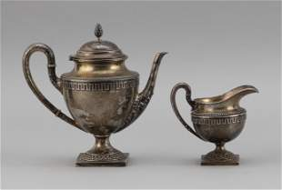 GERMAN .800 SILVER TEAPOT AND CREAMER Late 19th Century