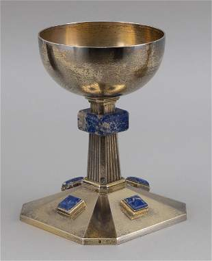 FRENCH .950 SILVER-GILT AND SODALITE CHALICE