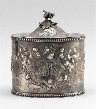JONES, BALL & CO. COIN SILVER TEA CADDY Boston, 1853-55