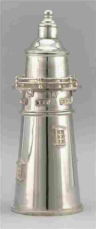 SILVER PLATED LIGHTHOUSE-FORM COCKTAIL SHAKER
