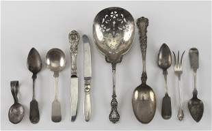 TEN PIECES OF STERLING AND COIN SILVER FLATWARE Approx.