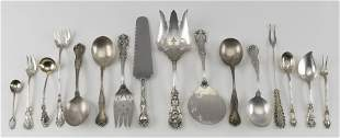 SIXTEEN STERLING SILVER SERVING PIECES Approx. 21.6