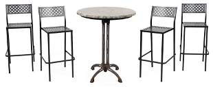 "ASSEMBLED FOUR-PIECE BISTRO SET Table height 42.5""."