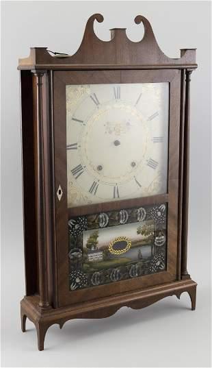 ELI TERRY PILLAR AND SCROLL SHELF CLOCK Circa 1830