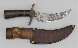 HUNTING KNIFE IN LEATHER SHEATH Late 19th Century