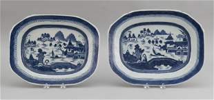TWO CHINESE EXPORT BLUE AND WHITE CANTON PORCELAIN