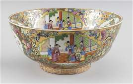 CHINESE EXPORT ROSE MEDALLION PORCELAIN PUNCH BOWL 20th
