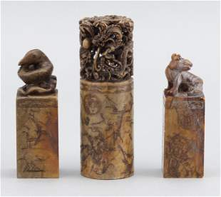 THREE CHINESE UNCUT CARVED SOAPSTONE SEALS Late 19th