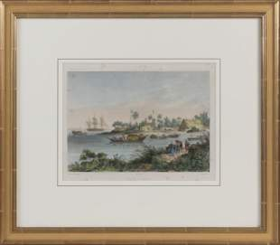 """COLORED LITHOGRAPH """"DIAMOND HARBOUR"""" 19th Century"""