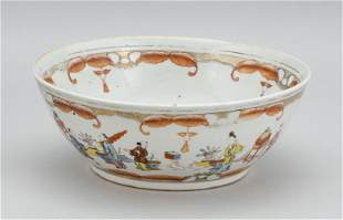 """CHINESE POLYCHROME PORCELAIN BOWL Circa 1800 Height 4""""."""