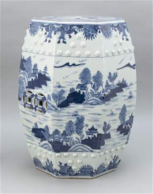 CHINESE EXPORT BLUE AND WHITE CANTON PORCELAIN GARDEN