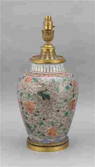 CHINESE FAMILLE VERTE PORCELAIN VASE Late 19th Century