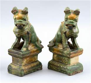 PAIR OF CHINESE SANCAI POTTERY FU DOG ROOF TILES Early