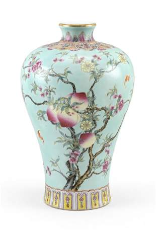 CHINESE FAMILLE ROSE PORCELAIN MEIPING VASE Qing