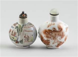 TWO CHINESE PORCELAIN SNUFF BOTTLES 19th Century