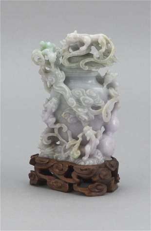CHINESE FINELY CARVED LAVENDER AND CELADON JADE COVERED