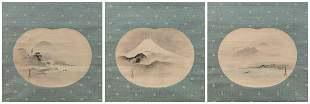 SET OF THREE JAPANESE SCROLL-MOUNTED FAN PAINTINGS BY