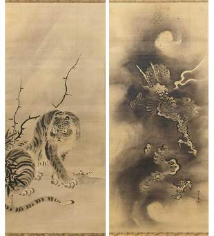 PAIR OF JAPANESE SCROLL PAINTINGS ON SILK BY KANO