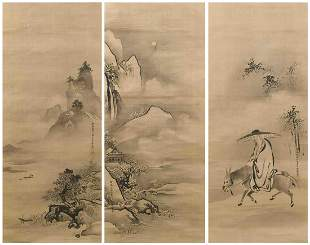SET OF THREE JAPANESE SCROLL PAINTINGS ON SILK BY KANO