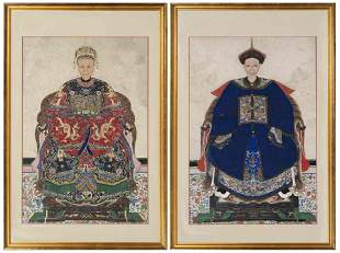 PAIR OF CHINESE ANCESTOR PORTRAITS 19th Century