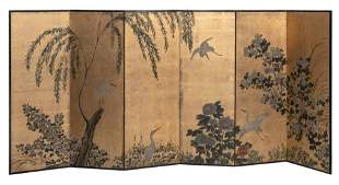 JAPANESE SIX-PANEL SCREEN Late Meiji Period Height