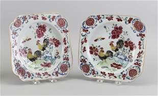 PAIR OF CHINESE FAMILLE ROSE PORCELAIN SQUARE PLATES