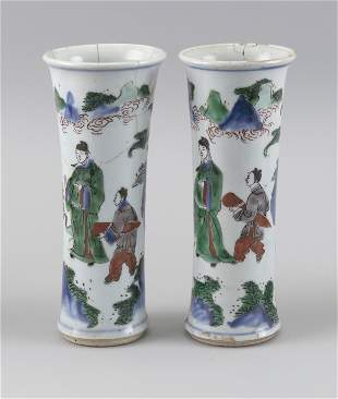 PAIR OF CHINESE DOUCAI PORCELAIN VASES 19th Century