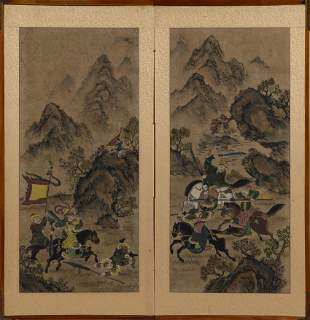 KOREAN TWO-PANEL PAINTED SCREEN 19th Century Watercolor