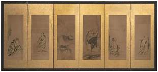 JAPANESE SIX-PANEL SCREEN MOUNTED WITH PAINTINGS ON