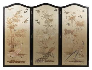 JAPANESE THREE-PANEL SILK FLOOR SCREEN Late Meiji