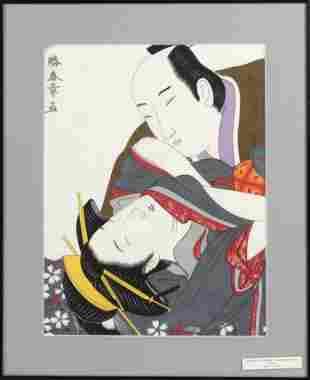 20TH CENTURY SHUNGA WOODBLOCK PRINT Dai Oban tate-e