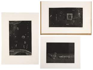 THREE CONTEMPORARY JAPANESE PRINTS Black and white
