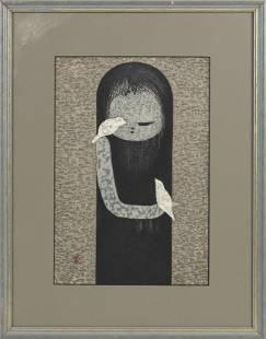 """KAORU KAWANO Dai Oban tate-e Framed 22"""" x 17.25""""."""