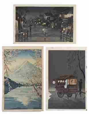 THREE 20TH CENTURY WOODBLOCK PRINTS Oban tate-e
