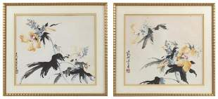 "TWO CHINESE WATERCOLORS ON PAPER 17"" x 17"". Framed 21"""