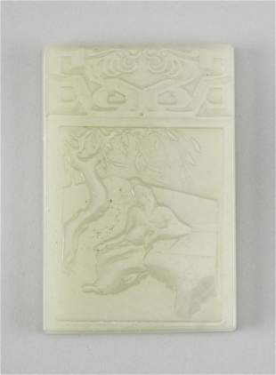 """CHINESE CARVED LIGHT CELADON JADE PLAQUE 2.75"""" x 1.25""""."""