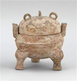 """CHINESE EARTHENWARE COVERED DING Han Dynasty Height 6""""."""