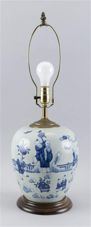 CHINESE BLUE-ON-CELADON PORCELAIN GINGER JAR Late