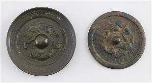 TWO CHINESE BRONZE MIRRORS 17th-19th Century