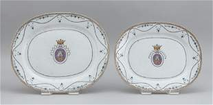 TWO CHINESE EXPORT ARMORIAL PORCELAIN PLATTERS 19th