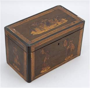 CONTINENTAL TEA CADDY INLAID WITH GENRE SCENES Mid-19th