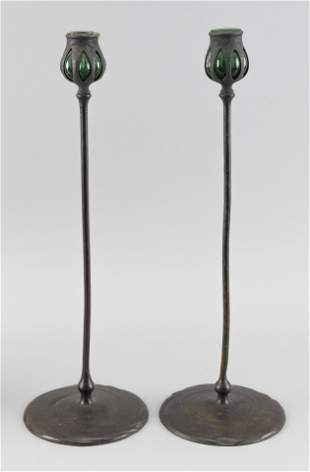 PAIR OF TIFFANY STUDIOS BRONZE AND GLASS CANDLESTICKS