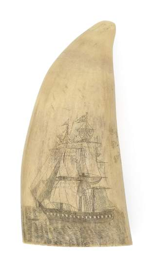 POLYCHROME SCRIMSHAW WHALE'S TOOTH WITH SAILOR'S