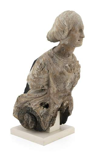 CARVED WOODEN FIGUREHEAD IN THE FORM OF A WOMAN First