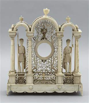 CARVED BONE WATCH TOWER, PROBABLY FRENCH 19th Century