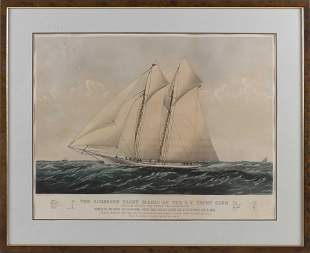 "CURRIER & IVES HAND-COLORED LITHOGRAPH ""THE SCHOONER"