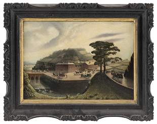 CHINESE SCHOOL (19th Century,), Landscape with numerous