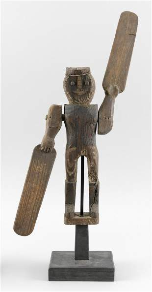 "WOODEN ""HAPPY JACK"" WHIRLIGIG Early 20th Century Total"