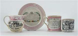 FOUR PIECES OF ENGLISH SUNDERLAND CHINA 19th Century